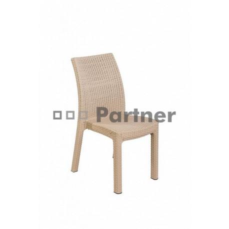 Záhradná stolička z umelého ratanu PUKET (piesková)
