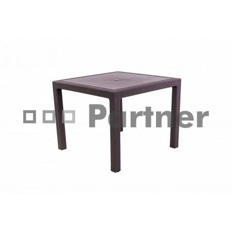 Záhradný stôl z umelého ratanu MANHATTAN 95x95 cm (hnedá)