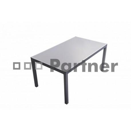 Záhradný ratanový stôl s tvrdeným sklom LAURA (antracit)