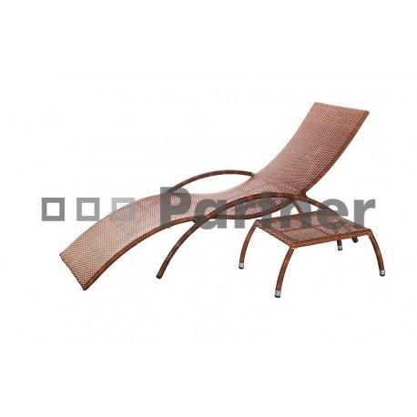Záhradné lehátko z umelého ratanu BADE + stolík ZDARMA