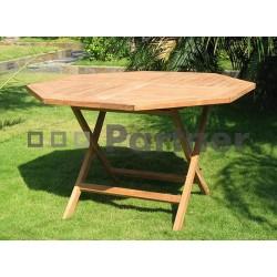 Záhradný skládací stôl osemuholník HAGEN ⌀ 120 cm