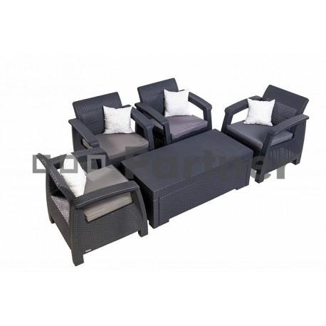 Záhradná ratanová zostava CORFU SEAT 4  antracit